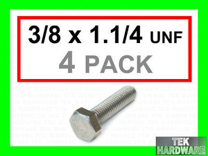 Stainless-Steel-UNF-Imperial-Hex-Head-Bolts-Setscrews-3-8-x-1-1-4-4Pk