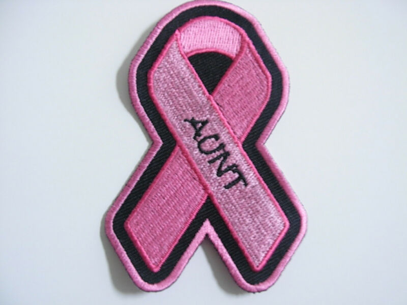 PINK RIBBON BREAST CANCER AWARENESS PATCH--AUNT