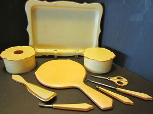 CELLULOID-VANITY-SET-TRAY-MIRROR-SCISSOR-GERMANY-VINTAGE-11-PCS-ART-DECO