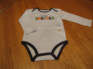 Boys-baby-infant-Carters-body-suit-one-piece-little-brother-9-M-long-sleeve-Blue