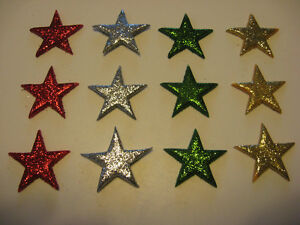 CHRISTMAS-COLOURS-LARGE-SUGAR-ICING-GLITTERY-CUPCAKE-STARS-CAKE-DECORATIONS