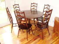 VERY RARE ERCOL blue label dining suite with six chairs, drop leaf table, retro, vintage