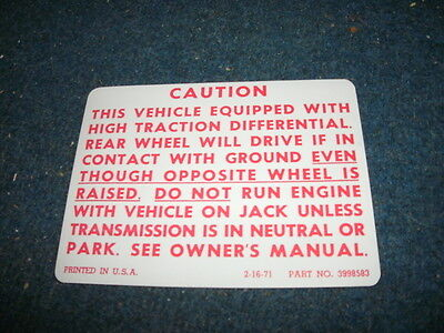 1971 - 1978 Chevrolet / Gmc Truck Posi Traction Warning Decal Sticker