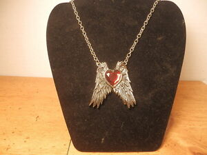 ROCK REBEL RED HEART WITH WINGS NECKLACE FROM HOT TOPIC