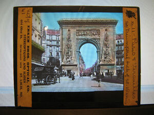 Antique-30s-40s-French-Magic-Lantern-Glass-Slide-Triumphal-Arch-of-St-Denis