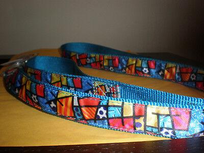 Romero Britto Blue Multi Color Dog Leash Approx. 60 Inches With Tag