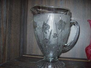 Depression Glass water pitcher Iris and Herringbone