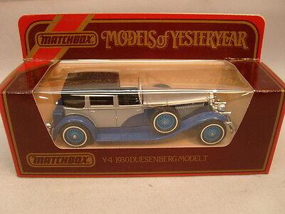 MATCHBOX LESNEY MODELS OF YESTERYEAR 1:43 Y4 BLUE/SILVER 1930 DUESENBERG MODEL J