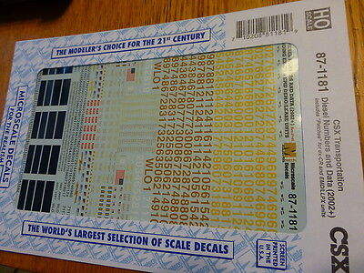 Microscale Decal #87-1181 CSX Transportation/Diesel Numbers & Data (2002+)