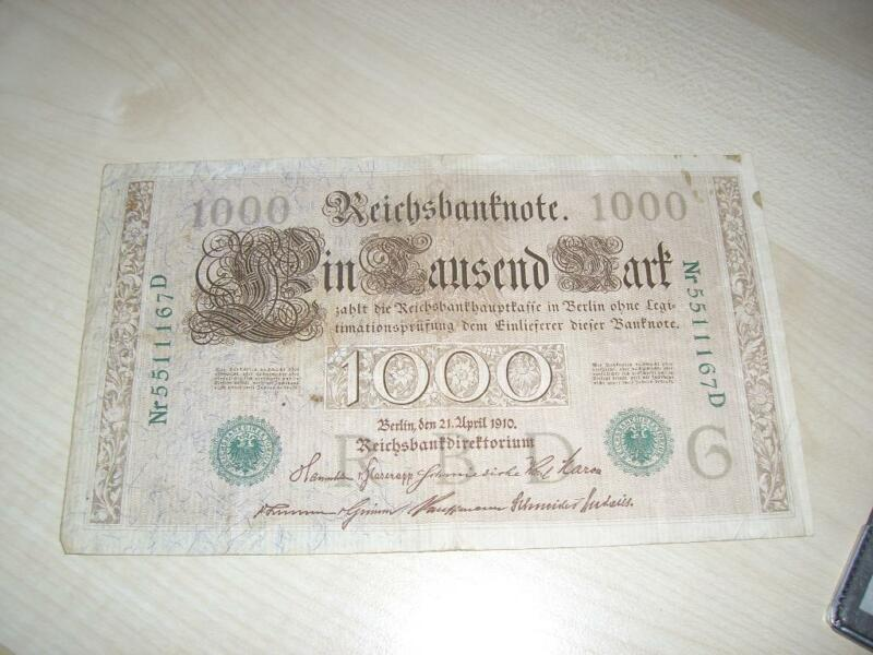 1000 mark reichsbanknote 1910 in bayern regensburg ebay kleinanzeigen. Black Bedroom Furniture Sets. Home Design Ideas