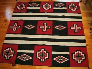 Navajo Design Chiefs Blanket  Handwoven Wool Rug or Wall Hanging 5 x 5
