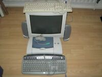 OLD PC MONITOR and KEY BOARDS