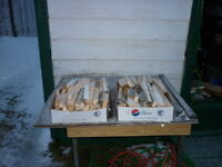 BOXES OF WOOD SPLITS & END CUTTINGS OF BOARD & PLANK