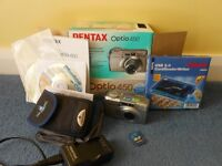 Pentax Optio450 Digital Camera, case, battery charger, 256 +16mb memory sticks, excellent condition