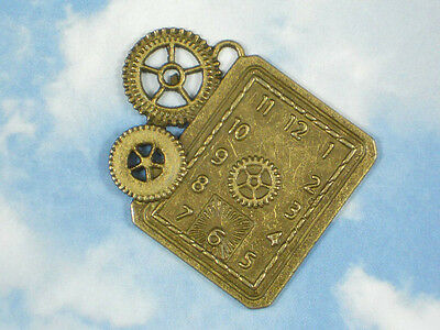1 Watch Clock Face Gears Pendant Bronze Steampunk Large Charm #P841