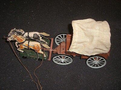 Hausser Elastolin  Cowboy Western  Kutsche Planwagen mit Kutscher von 1930/50