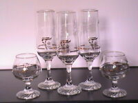8 PC., Gold-plated Olympic Champagne Flutes/Snifter Glasses_+ $5