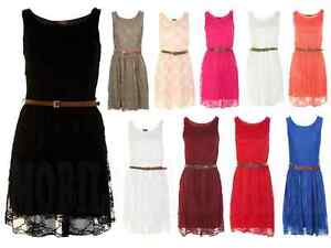 WOMEN-LACE-SHIFT-SKATER-BELTED-SLEEVELESS-DRESS-TOP-SIZE-8-14