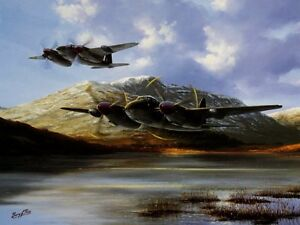 BEAUTIFUL AVIATION PRINT PICTURE PAINTING OF MOSQUITO Fighter Bomber RAF