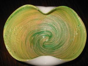 Mid-Century-Murano-Art-Glass-Ashtray-Bowl-Green-Copper-SPARKLING-SWIRLS-6