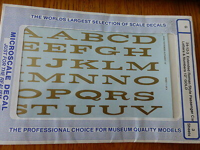 """Microscale Decal #30003 Extended Roman Style Pass Car Letters & Numbers 12"""" Gold"""