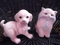 FIGURINE CHIEN & CHAT EN CERAMIQUE NEUF POTTERY DOG & CAT