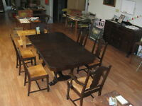 Antique dining room table, hutch and cabinet