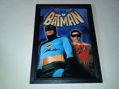 "BATMAN THE MOVIE PP SIGNED & FRAMED 12""X8"" POSTER ADAM WEST & BURT WARD"
