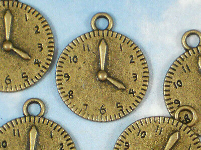 8 Watch Dial Charms Timepiece Clock Face Antiqued Bronze 19mm Pendants #P092