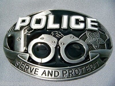 Police Metal Belt Buckle-hand Cuffs-gun-badge-fits 1 5/8 Belt-4 Inches Wide