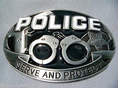 Police Metal Belt Buckle-hand Cuffs-gun-badge-fits 1 5/8 Belt-4 Inches Wide