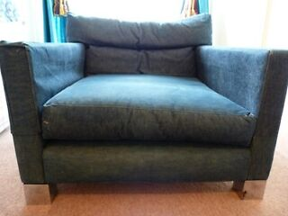 1970's vintage really large square denim chair, chrome feet, from Saddlers Wells Brighton Picture 1