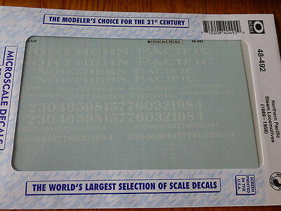 Microscale Decal #48-492 Northern Pacific Steam Locomotives (1889 - 1958)O Scale