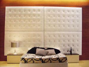 Spalliera testata per letto a moduli imbottita in ecopelle su misura ebay - Cuscini spalliera letto ...