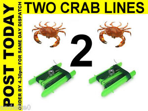 Two crabbing line reel nets weight hook style catcher crab for Fishing pole crab trap
