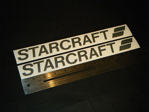 Starcraft-Boats-Vintage-Silver-Metallic-Decal-12-Stickers-Pair