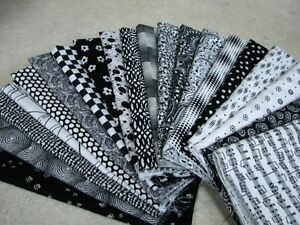 20-Fat-Quarter-Quilt-Fabric-Lot-Black-White-Stash-A1