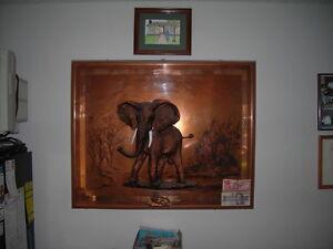 3 D ELEPHANT on COPPER LANDSCAPE