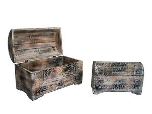2x NEW Balinese Brown Cream Wooden Treasure Chest Box - Primitive style