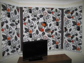 Bay window roman blinds, hand made
