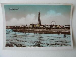 Blackpool-Tower-Pleasure-Beach-Big-Wheel-Real-Photograph-Colourized-Postcard