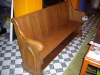 Antique Pine Church Pew - mid 1800 Atlantic Canada