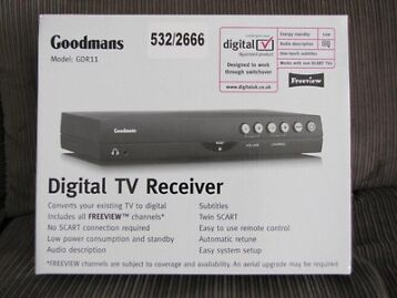 Goodmans Gdr11 Freeview Twin Scart Set Top Box. Brand New