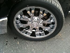 "Five Tires on 22"" Verde Rims, lugnuts, lock-nuts"