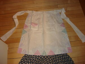 Vintage-Half-Apron-WHITE-WITH-APPLIED-TRIANGLES-BORDER