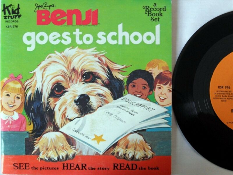 BENJI GOES TO SCHOOL KSR 976 Kid Stuff Read Along Book & Record Set VG+