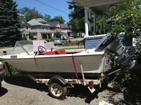 14 foot Boat with Evinrude 50 Motor and Trailer
