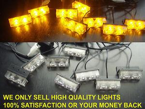 12 volt AMBER RECOVERY STROBE LED LIGHTS ORANGE GRILL BREAKDOWN FLASHING BEACON