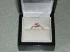 Pink Sapphire & White Diamond Ring
