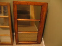2 WOOD PICTURE FRAMES WITH GLASS MIRROR INSERTS